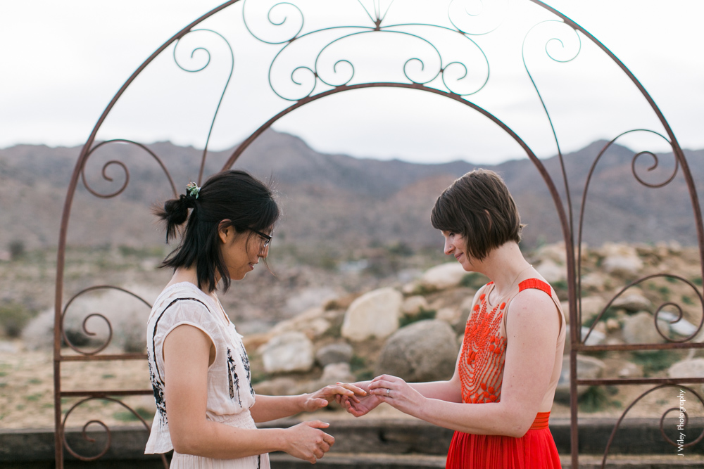 Joshua Tree Wedding Photographer desert Elopement photographer same sex wedding photographer marriage equality sacred sands indie diy offbeat candid vintage anthropologie free people dress succulents-0122