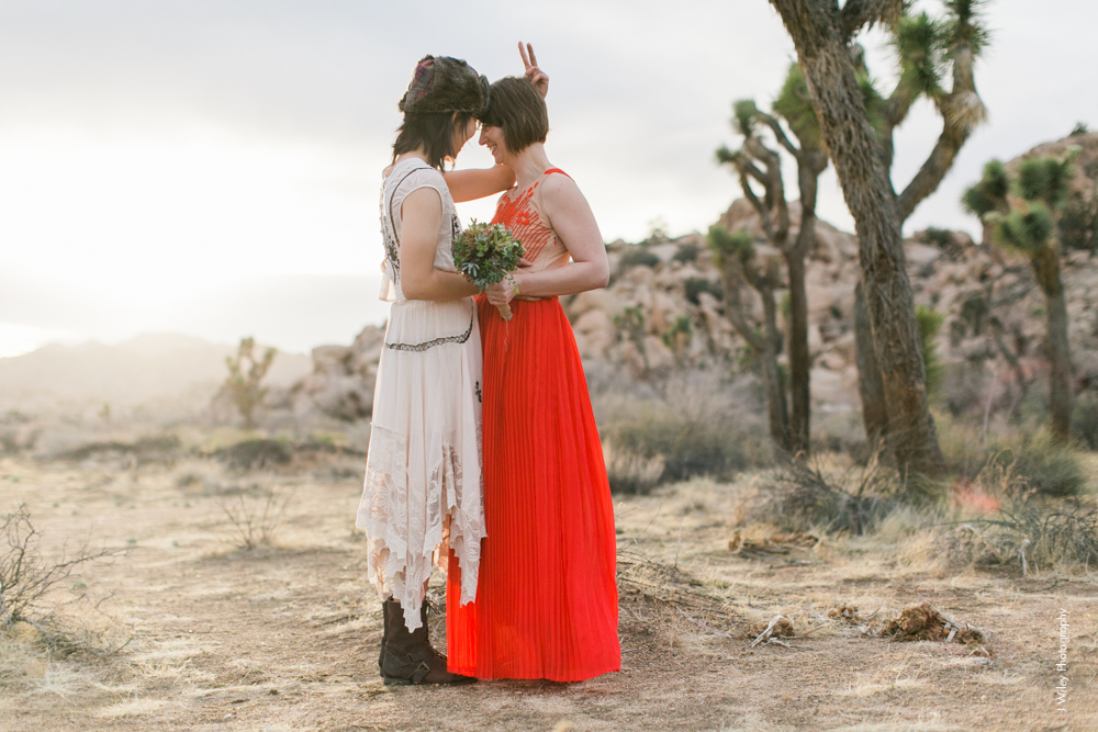 Joshua Tree Wedding Photographer desert Elopement photographer same sex wedding photographer marriage equality sacred sands indie diy offbeat candid vintage anthropologie free people dress succulents-0384