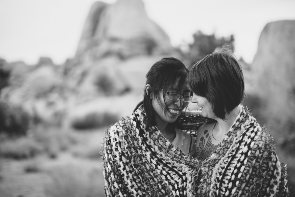Joshua Tree Wedding Photographer desert Elopement photographer same sex wedding photographer marriage equality sacred sands indie diy offbeat candid vintage anthropologie free people dress succulents-0463