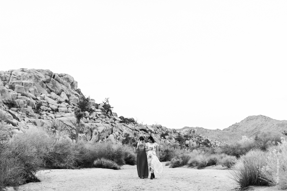 Joshua Tree Wedding Photographer desert Elopement photographer same sex wedding photographer marriage equality sacred sands indie diy offbeat candid vintage anthropologie free people dress succulents-0536