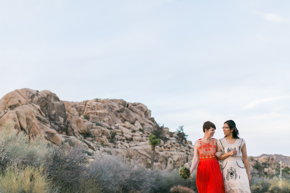 Joshua Tree Wedding Photographer desert Elopement photographer same sex wedding photographer marriage equality sacred sands indie diy offbeat candid vintage anthropologie free people dress succulents-0550