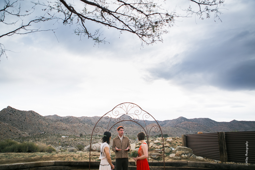 Joshua Tree Wedding Photographer desert Elopement photographer same sex wedding photographer marriage equality sacred sands indie diy offbeat candid vintage anthropologie free people dress succulents-1010