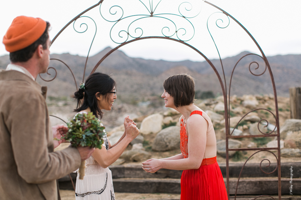 Joshua Tree Wedding Photographer desert Elopement photographer same sex wedding photographer marriage equality sacred sands indie diy offbeat candid vintage anthropologie free people dress succulents-1071