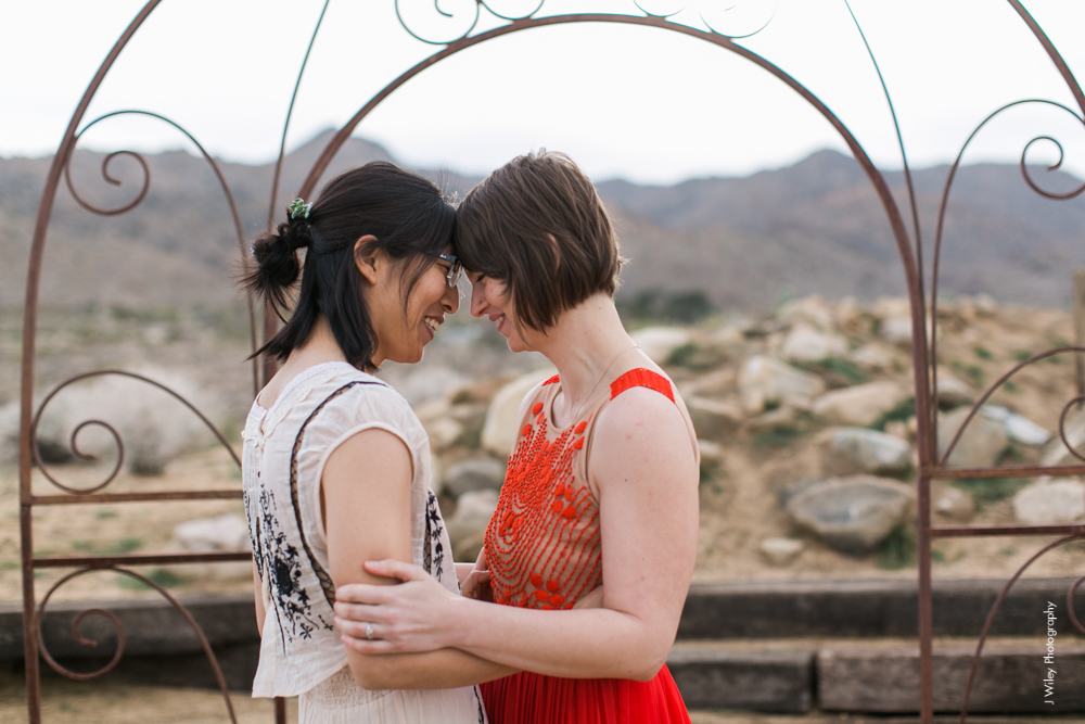 Joshua Tree Wedding Photographer desert Elopement photographer same sex wedding photographer marriage equality sacred sands indie diy offbeat candid vintage anthropologie free people dress succulents-1083