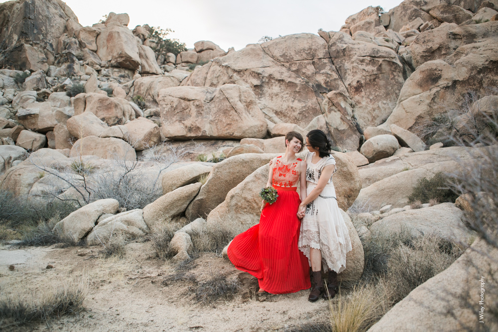 Joshua Tree Wedding Photographer desert Elopement photographer same sex wedding photographer marriage equality sacred sands indie diy offbeat candid vintage anthropologie free people dress succulents-1183