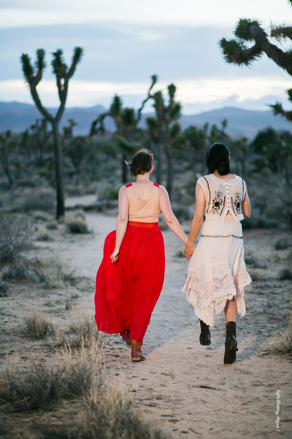 Joshua Tree Wedding Photographer desert Elopement photographer same sex wedding photographer marriage equality sacred sands indie diy offbeat candid vintage anthropologie free people dress succulents-1224