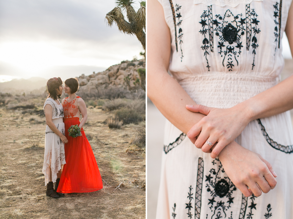 Joshua Tree Wedding Photographer desert Elopement photographer same sex wedding photographer marriage equality sacred sands indie diy offbeat candid vintage anthropologie free people dress succulents-2