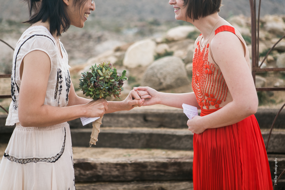 Joshua Tree Wedding Photographer desert Elopement photographer same sex wedding photographer marriage equality sacred sands indie diy offbeat candid vintage anthropologie free people dress succulents-5049