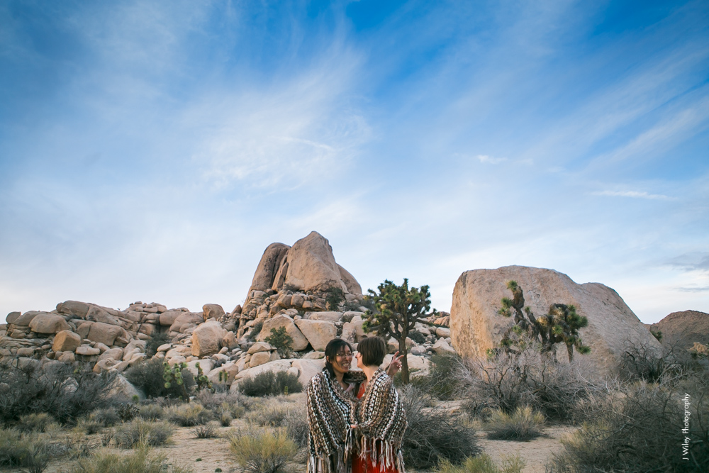 Joshua Tree Wedding Photographer desert Elopement photographer same sex wedding photographer marriage equality sacred sands indie diy offbeat candid vintage anthropologie free people dress succulents-5087
