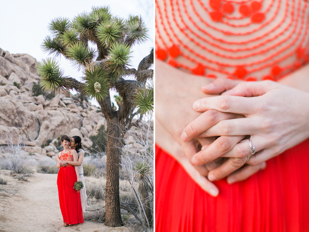Joshua Tree Wedding Photographer desert Elopement photographer same sex wedding photographer marriage equality sacred sands indie diy offbeat candid vintage anthropologie free people dress succulents-8